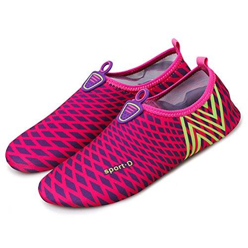 West See Badeschuhe Strandschuhe Wasserschuhe Aquaschuhe Schwimmschuhe Barfuß Schuhe für Damen Herren # 3 Rot
