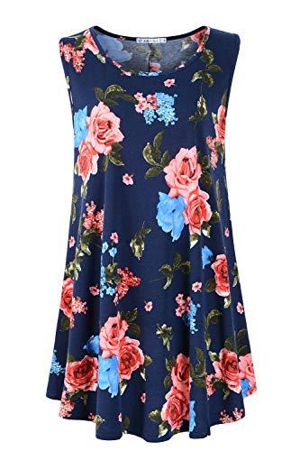 JollieLovin Womens Sleeveless Comfy Plus Size Tunic Tank Top with Flare Hem (Small (US 4-8), 6-Navy Blue)
