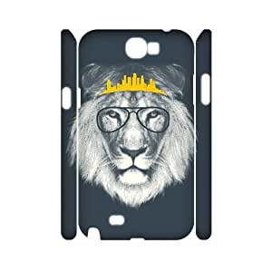 Customized Durable Case for Samsung Galaxy Note 2 N7100 3D, Hipster Lion Phone Case - HL-R689704