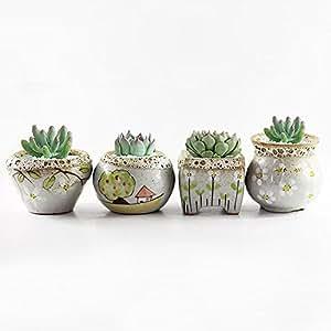 LM - 4 macetas creativas de cerámica, maceta de flores para jardín, bonsai, plantas suculentas, maceta, maceta de flores de cactus, maceta/contenedor