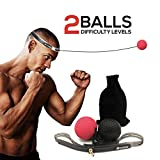 Boxing Reflex Ball, Seed 2 Difficulty Level Boxing Punching Balls with Headband, Softer Than Tennis Ball, Training to Improve Hand Eye Coordination, Punching Skill, Speed, Reaction, Great Boxing Train
