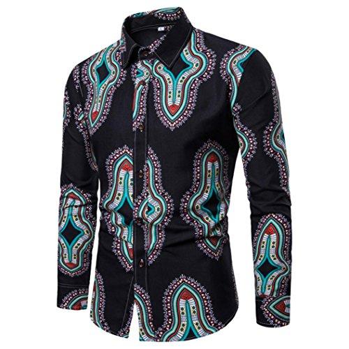 kaifongfu Man Long Sleeved Shirt,Nation Floral Printed Blouse Casual Long Sleeve Slim Shirts Tops(Black,XXL) by kaifongfu-mens clothes