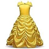 Enterlife Little Girls' Belle Princess Costumes Layered Off Shoulder Princess Disney Dress up Halloween