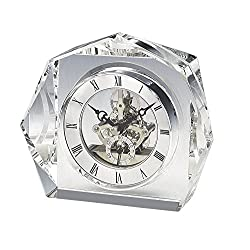 Upper Gifts Elegant Crystal Desk Clock with Beautiful Silver Quartz Clock Movement