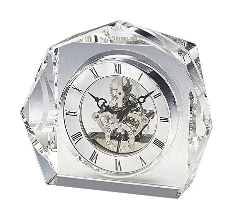 - Upper Gifts Elegant Crystal Desk Clock with Beautiful Silver Quartz Clock Movement
