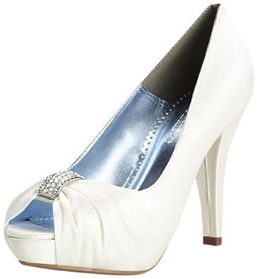 b064e9906 Charmeuse Pleated Peep Toe with Crystal Ornament Style Diana Bridal