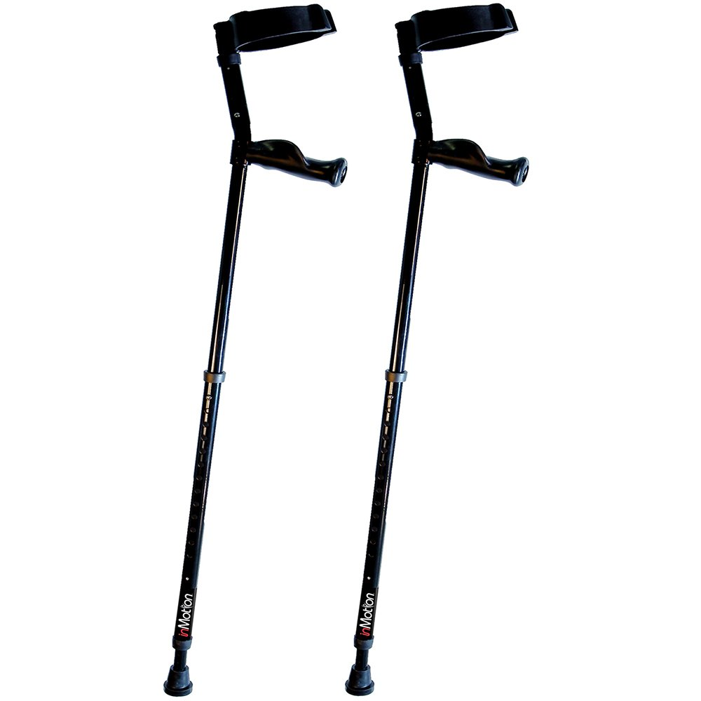Millennial Medical In-Motion Forearm Crutches - size Tall (4'9'' - 6'3'') | Glossy Black