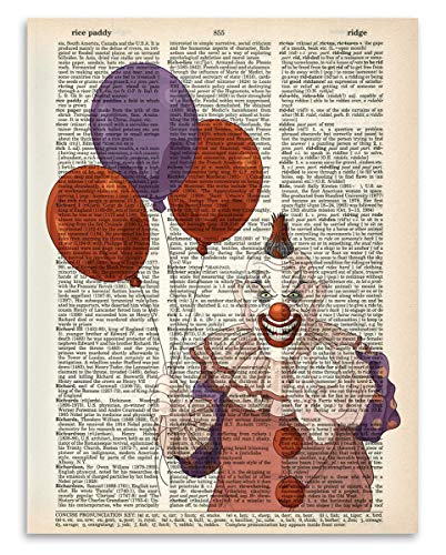 Upcycled Dictionary Art - Pennywise The Clown - 8.5x11 Unframed Dictionary Art - Great Inspiring Gift Under $20]()