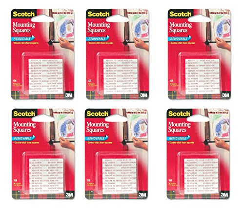 Scotch(R) Removable Mounting Squares , 1 x 1 Inches, 16 squares ,Grey(108), (Removable Foam Mounting Squares)