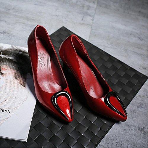 Zapatos Pie Eur Alto Corte Vestir Estilete Fiesta Tacón Dedo Del 3 4 Rojo Red Boda Nvxie 36 Blanco Señoras Mujeres 5 Zapatillas Puntiagudo eur35uk3 uk qTxwa0tv