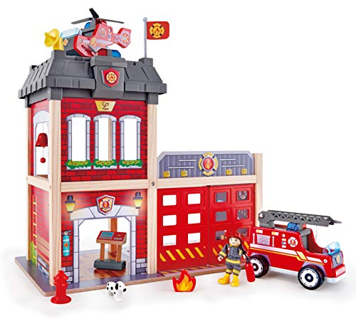 (Hape Fire Station Playset| Wooden Dollhouse Kid's Toy, Stimulates Key Motor Skills and Promotes Team Play)
