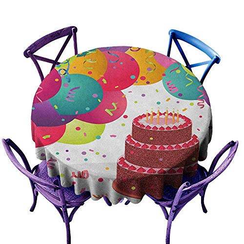 ONECUTE Spillproof Tablecloth,Birthday Strawberry Triplex Cake with Candles Ribbons Balloons Newborn Celebration Theme,Modern Minimalist,70 INCH Multicolor ()
