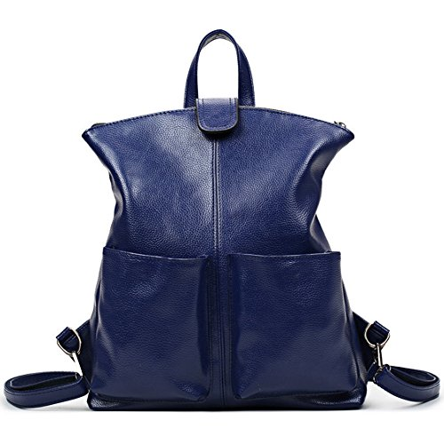 (jvp 1014-b) Japanese Style Waterproof Backpack Fashion Black Pu Leather Shoulder Bag 3way Handbag Bag Ladies Handbag Popular Navy Light Suburban School School