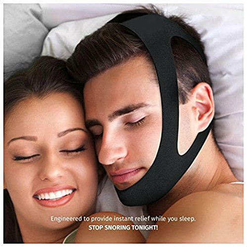 Stop Snoring the Most Effective Snoring Solution Adjustable Anti Snoring Chin Strap Sleep Aid Device - Get the Restful Night you Deserve!