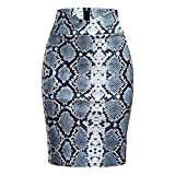 MISYAA Womens Skirts Sequin Bodycon Snake Patterned High Waisted Pencil Skirt Slim-Fit Mini Skirts Silver