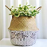 Seagrass Wicker Flower Basket Wall Hanging Sequin Handwoven Basket Folding Plant Pot Outdoor Indoor Decoration for Indoor Home Garden Wedding (White)