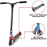 Longway Aluminium Pro Stunt Kick Scooter with BMX Handlebars, 110mm Wheels & ABEC-7 - Anodized Neo Chrome/Carbon Fiber Print/Matte Blue/Matte Red