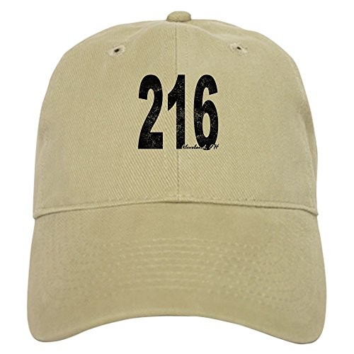 (CafePress - Distressed Cleveland 216 Baseball - Baseball Cap with Adjustable Closure, Unique Printed Baseball Hat Khaki)