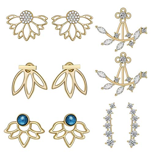double ideal 5 Pairs Lotus Flower Earrings Jackets for Women and Girls Multiple Dainty Chic Ear Jacket Stud Earring Set (Gold)