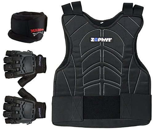 Zephyr Pro Padded Chest Protector Combo Package - Paintball, Airsoft, Etc. - Large / X-Large Gloves Pro Padded Chest Protector