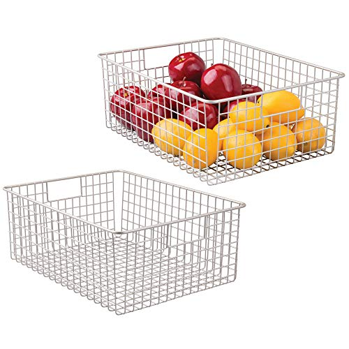 mDesign Farmhouse Decor Metal Wire Food Organizer Storage Bin Baskets with Handles for Kitchen Cabinets, Pantry, Bathroom, Laundry Room, Closets, Garage - 2 Pack - Satin
