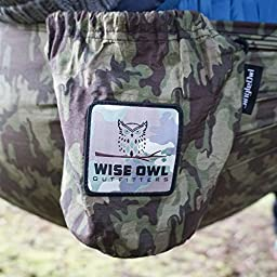 Wise Owl Outfitters Portable Lightweight Parachute Nylon Fabric Hammock with Ropes and Carbines, SingleOwl, Straps Camo Bundle