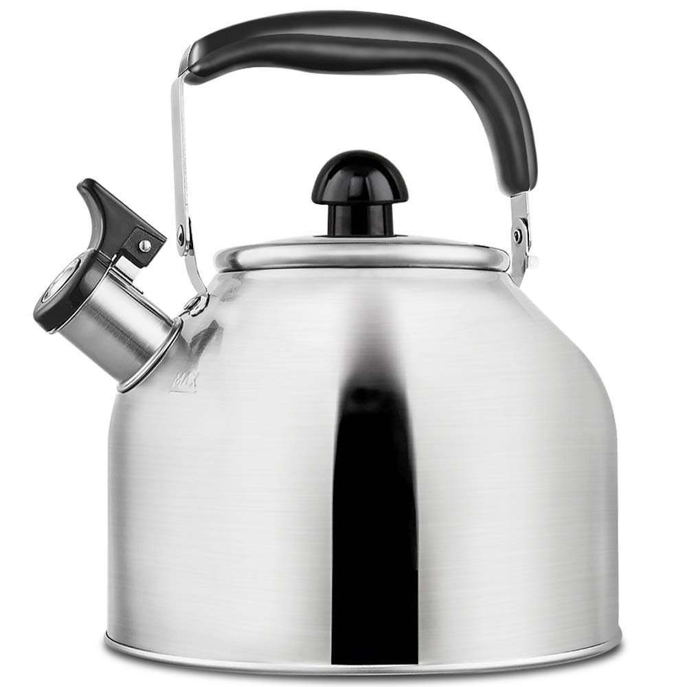 Tea Kettle Whistling Teapot for Stovetop, Stainless Steel Teakettle with Fast Boiling Base, 3.9 Quart