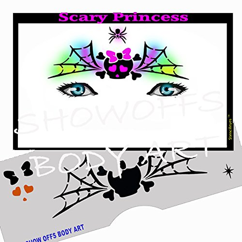 Halloween Face Painting Stencil - StencilEyes Scary Princess -