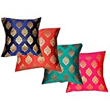 PINK PARROT Polyester Blend Dopian Silk 16x16-inch Cushion Cover (Multicolour) - Set of 4