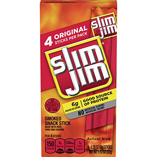 Slim Jim Snack-Sized Smoked Meat Stick, Original Flavor, 1.12 Oz. 12-Count (Pack of 3)