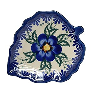 Traditional Polish Pottery, Handcrafted Ceramic Leaf-Shaped Tea Bag Coaster or Spoon Rest, L.12cm, Boleslawiec Style Pattern, H.401.Pansy