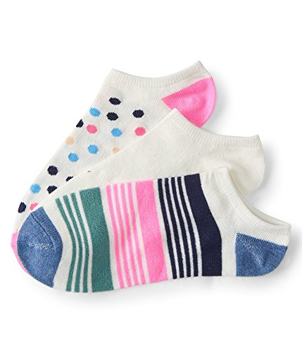 Aeropostale 3-Pack Dot, Stripe & Solid Ankle Socks Pink