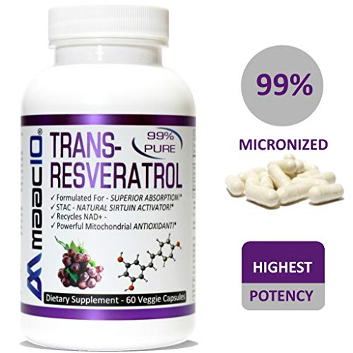 MAAC10 - Trans Resveratrol 500mg (Pharmaceutical Grade 99% Purified MICRONIZED Trans-Resveratrol Extract + BioPerine for Superior Absorption) (2X 250mg Capsules 60ct)