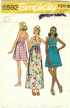 Simplicity 5592 Sewing Pattern Misses Maternity Halter Dress Check Offers for Size 70s Simplicity Sewing Pattern