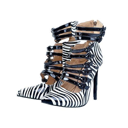 WYWQ Womens Ladies Fine Sandali con tacco alto, Banchetto Party di grandi dimensioni 34-47 High Heels Cuciture multicolor, con una parola, fibbia PU Nero , 37 , black