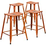 "Flash Furniture 4 Pk. 24"" High Distressed Orange Metal Indoor-Outdoor Counter Height Saddle Comfort Stool For Sale"