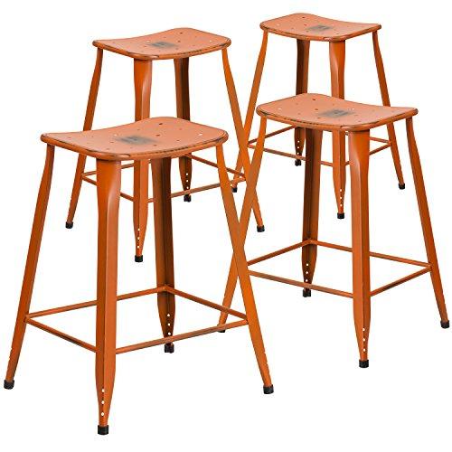 "Flash Furniture 4 Pk. 24"" High Distressed Orange Metal Indoor-Outdoor Counter Height Saddle Comfort Stool For Sale"