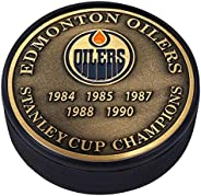 Medallion Puck - Edmonton Oilers Stanley Cup Years Gold