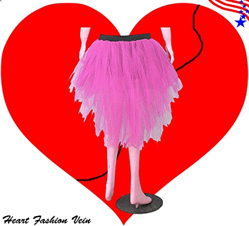 [Baby Pink 7 Layers Pointed Bustle Peacock Trashy Tutu Skirt Halloween] (Peacock Spider Costume)