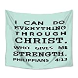Wall Hangings Tapestry I Can Do Everything Through Christ Christian Light Weight Fabric Throw Tapestries for Home Living Room Bedroom Dorm Art Decor