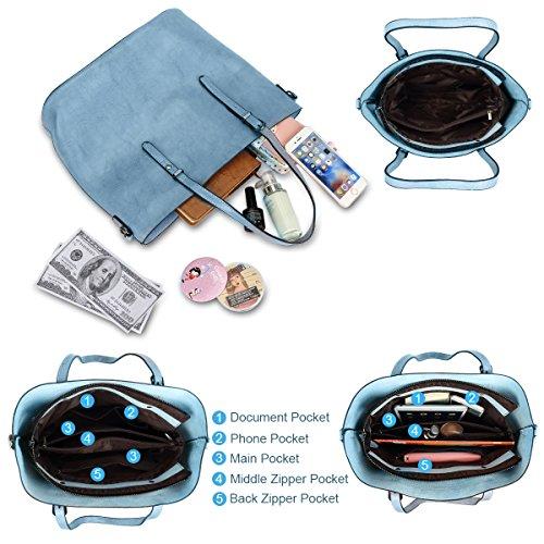 Women Top Handle Satchel Handbags Shoulder Bag Messenger Tote Bag Purse IUKIO (Light Blue) by IUKIO (Image #5)
