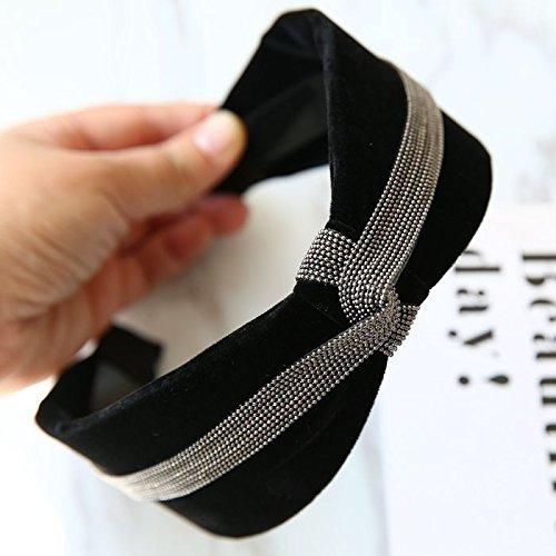 usongs New hair accessories black velvet winter luxury diamond hoop headband width toothed buckle head hoop by usongs (Image #1)