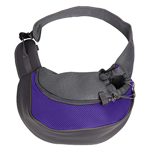 Hands Free Sling - TNZMART Hands-Free Pet Puppy Carrier Sling, Portable Lightweight Breathable Mesh Outdoor Travel Single Shoulder Bag for Small Dogs Cats (Purple)