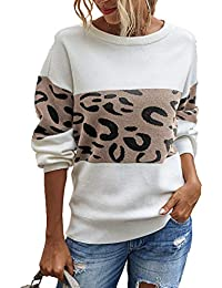 Women's Casual Long Sleeve Off Shoulder Knitted Sweater Leopard Print Color Block Loose Pullover Tops