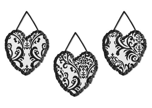 Sweet Jojo Designs Black and White Isabella Wall Hanging Accessories - Isabella Nursery Bedding