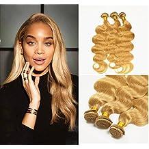 "Stella Reina Real Remy Hair Bundles Blonde Brazilian Body Wave 3 Bundles Deal Color #27 Strawberry Honey Blonde Sew In Human Hair Extension Weaves Full Head Set 18"" 20"" 22"""