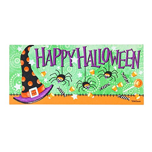 Evergreen Witchy Halloween Sassafrass Decorative Mat Insert, 10 x 22 inches
