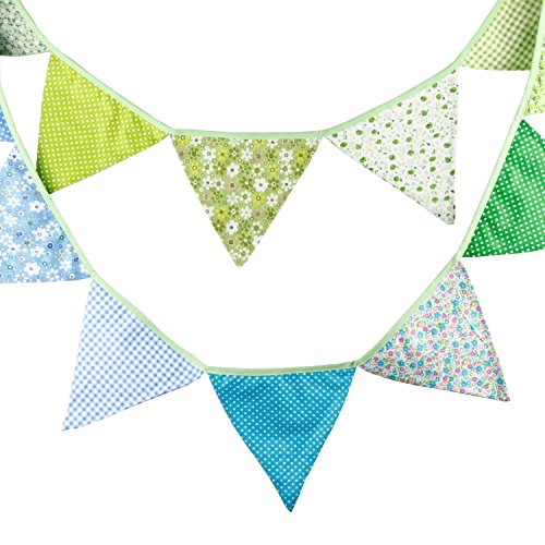 INFEI 3.2M/10.5Ft Multi-colored Floral Fabric Triangle Flags Bunting Banner Garlands for Wedding, Birthday Party, Outdoor & Home Decoration (Blue & Green)]()