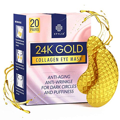24K Gold Collagen Eye Mask | Under Eye Patches With Hyaluronic Acid Targets Dark Under Eye Circles & Puffiness | Anti-Aging & Anti Wrinkle Treatment | Hydrating & Cooling Eye Mask | 20 Pairs Per Box