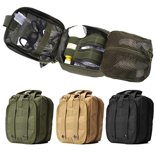 Tactical Medic Pouch- Army Medical Pouch- Tactical Bag EMT Medical First Aid Utility Emergency Pouch For Vest Belt - Green (Tactical First Aid Pouch) ()